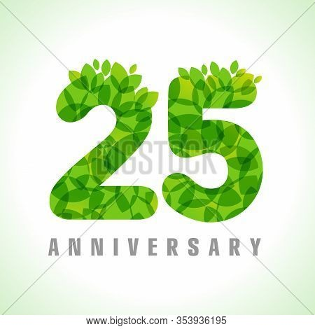 25 Th Anniversary Numbers. 25 Years Old Logotype. Age Congrats, Congratulation Concept With Leaves.