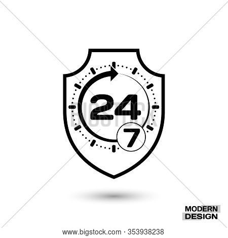 Icon Shield With Sign - Protection Around The Clock, 24 Hours 7 Day. Isolated On White Background. V