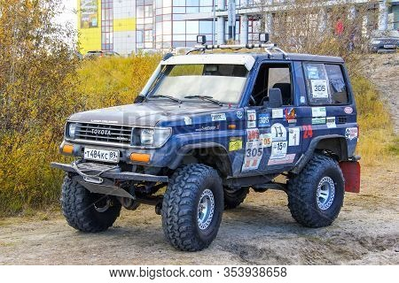 Novyy Urengoy, Russia - September 6, 2015: Tuned Offroad Car Toyota Land Cruiser Prado 70 In The Cit