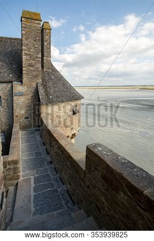 The Ramparts And One Of The Turrets At Mont Saint Michel, Normandy, France