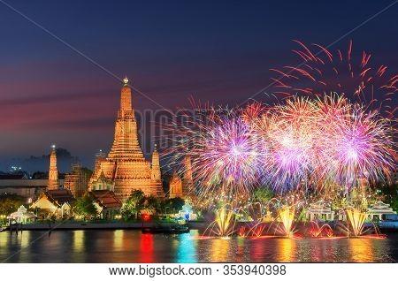 Bangkok Newyear Countdown Fireworks At Wat Arun Temple, Bangkok, Thailand.