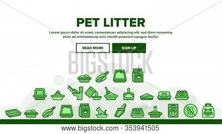 Pet Litter Accessory Landing Web Page Header Banner Template Vector. Cat In Pet Litter, Animal Footp