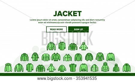 Jacket Fashion Clothes Landing Web Page Header Banner Template Vector. Man, Woman And Unisex Jacket,
