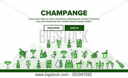 Champagne Beverage Landing Web Page Header Banner Template Vector. Bottle Champagne In Bucket And Bo