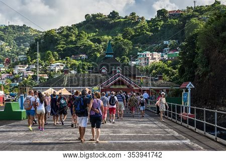Kingstown, Saint Vincent And The Grenadines - December 19, 2018: Cruise Ship Passengers Arriving At