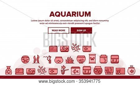 Aquarium Fish Decor Landing Web Page Header Banner Template Vector. Seaweed And Coral For Decorate A