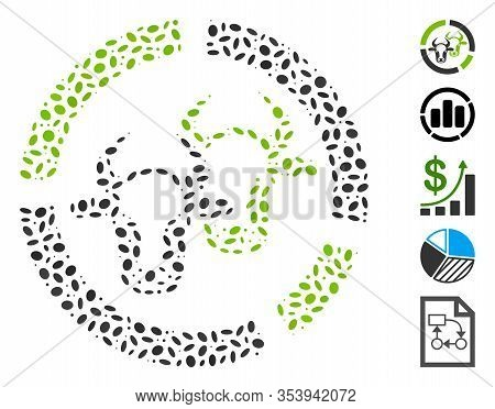 Dotted Mosaic Based On Livestock Diagram. Mosaic Vector Livestock Diagram Is Created With Random Ell