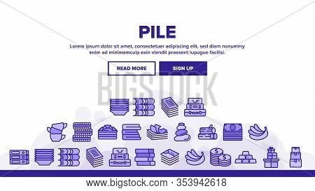 Pile Objects Things Landing Web Page Header Banner Template Vector. Pile Of Money Banknotes And Coin