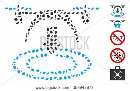 Dotted Mosaic Based On Copter Landing. Mosaic Vector Copter Landing Is Formed With Scattered Ellipti