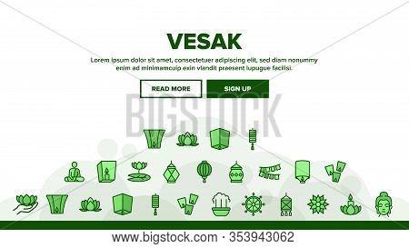 Vesak Day Buddhism Landing Web Page Header Banner Template Vector. Buddha Statue And Figure, Lotus F