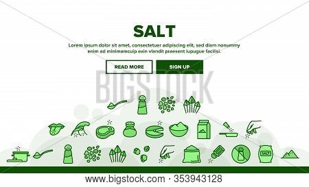 Salt Flavoring Cooking Landing Web Page Header Banner Template Vector. Salt On Human Tongue And In B