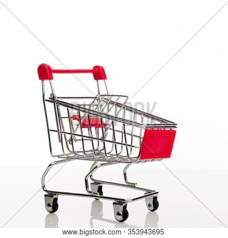 Shopping Cart With Copy Space On White Background - Image