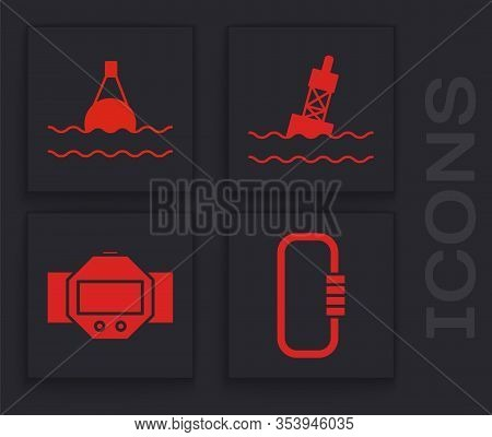 Set Carabiner, Floating Buoy On The Sea, Floating Buoy On The Sea And Diving Watch Icon. Vector