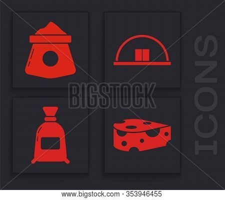 Set Cheese, Bag Of Flour, Hangar And Bag Of Flour Icon. Vector