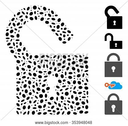 Dotted Mosaic Based On Unlock. Mosaic Vector Unlock Is Composed With Random Ellipse Dots.
