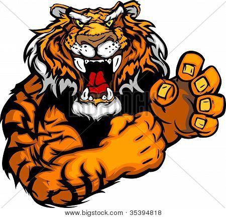 Gráficos Vector de la imagen de un Tigre mascota con manos que luchan