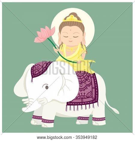 Samantabhadra Sitting On Auspicious Animal. Chinese God. A White Elephant. Cartoon Character. Vector