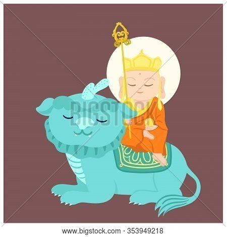 Jizo Bodhisattva Sitting On Auspicious Animal. Chinese God. Cartoon Character. Vector Illustration.