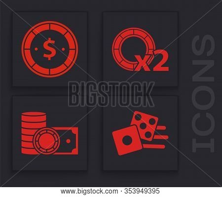 Set Game Dice, Casino Chip With Dollar, Casino Chips And Casino Chips And Stacks Money Cash Icon. Ve