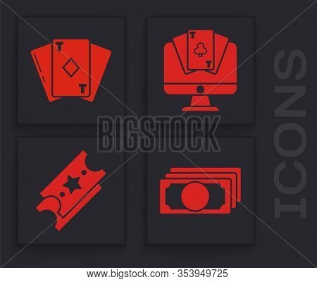 Set Stacks Paper Money Cash, Playing Card With Diamonds, Online Poker Table Game And Lottery Ticket