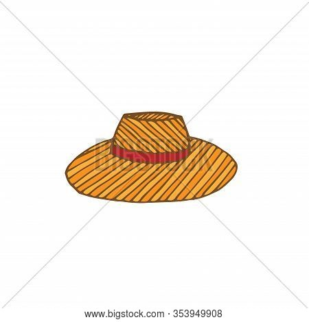 Wide- Brimmed Striped Beach Hat, Vector Illustration, Orange, Yellow And Red, Hand Drawing
