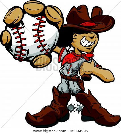Cartoon Cowboy Kid Baseball Player Holding Ball