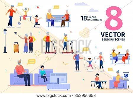 Senior People Activities And Recreation Trendy Flat Vector Scenes Set. Elderly Man And Woman, Happy