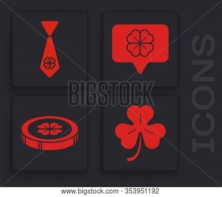 Set Four Leaf Clover, Tie With Four Leaf Clover, Four Leaf Clover In Speech Bubble And Gold Coin Wit