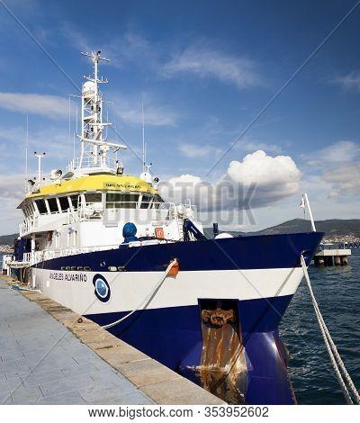 Vigo, Spain - Jan 24, 2020: Angeles Alvariño Multipurpose Oceanographic Research Vessel Moored On Th