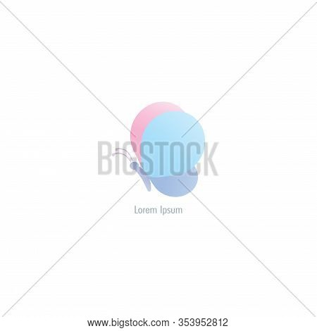 Abstract Flying Butterfly with rounded wings like baloon. Logo design template. Colorful Animal Logo Concept Isolated on White background. Marsh Mallow, Powder Blue, Violet, Pastel Color Gradient. Suitable for beauty and fashion product. Pictorial Logotyp