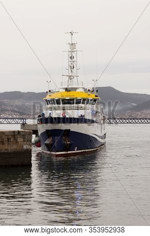 Vigo, Spain - Jan 17, 2020: Angeles Alvariño Multipurpose Oceanographic Research Vessel Mooring On T