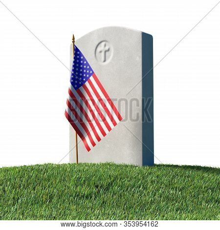 Gray Blank Headstone And Small American Flag On Green Grass Field In Memorial Day Under Sun Light Is