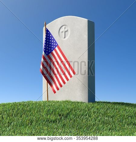 Gray Blank Headstone And Small American Flag On Green Grass Field In Memorial Day Under Sun Light Un