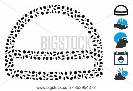 Dot Mosaic Based On Hardhat. Mosaic Vector Hardhat Is Composed With Random Elliptic Items.