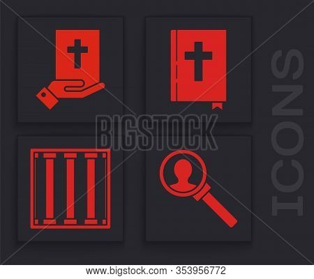 Set Magnifying Glass For Search, Oath On The Holy Bible, Holy Bible Book And Prison Window Icon. Vec