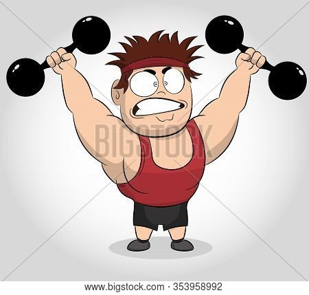 Funny Cartoon Illustration Of A Muscular Guy Holding A Dumbbells. Fit Muscular Man Exercising With D