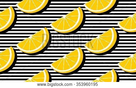 Seamless Background With Black Stripes And Slices Grapefruit With Dark Shadow. Vector Fruit Design F