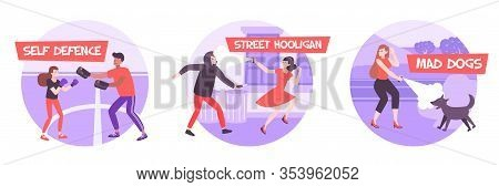 Self Defense Round Compositions Set With Flat Images Of Women Arming Against Hooligans And Mad Dogs