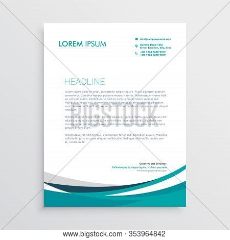 Creative Blue Wave Business Letterhead Abstract Beautiful Design Illustration