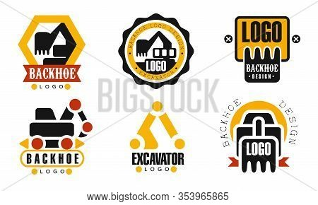Excavator And Backhoe Logo Design Collection, Construction Equipment Retro Badges Vector Illustratio