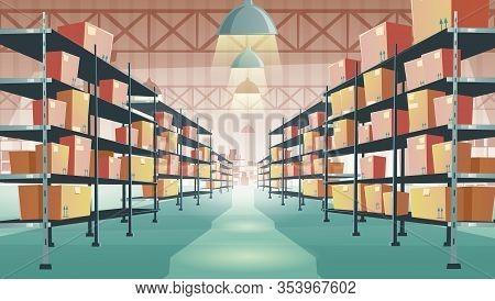 Warehouse Interior With Cardboard Boxes On Metal Racks. Vector Cartoon Illustration Of Empty Storeho