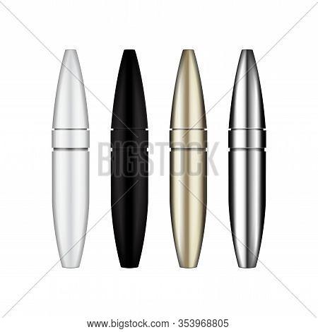 Mascara Brush. 3d Blank, Silver, White, Gold, Black Mascara Tubes. Vector Illustration Of Cosmetic P