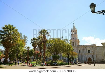 Plaza De Armas, The Main Square Of Arequipa With The Basilica Cathedral Of Arequipa, Peru, South Ame