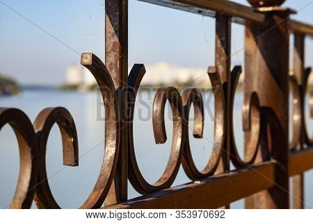 Embankment Of The Kuban River, Krasnodar, Russia. Fence Close Up.