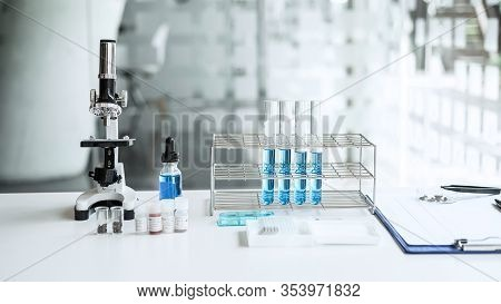 Scientist Research Laboratory Equipment Tools In Lab, Biochemistry Laboratory Research.