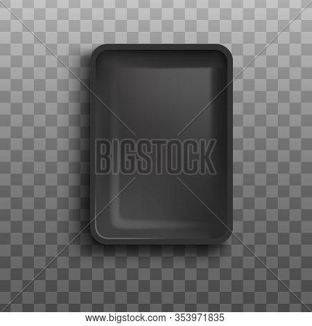 Frozen Food Packaging Mockup - Realistic Empty Black Rectangle Foam Tray