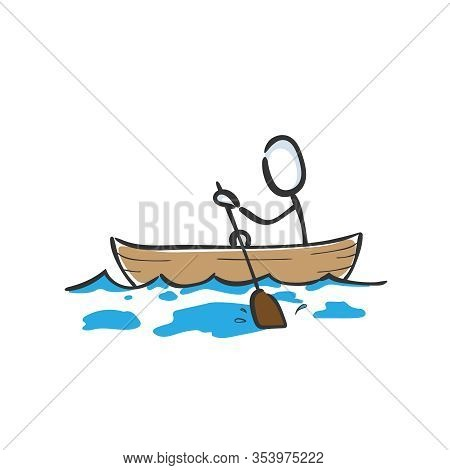 Man In Paddle Boat In The Sea. Paddle Boating Sports. Hand Drawn. Stickman Cartoon. Doodle Sketch, V