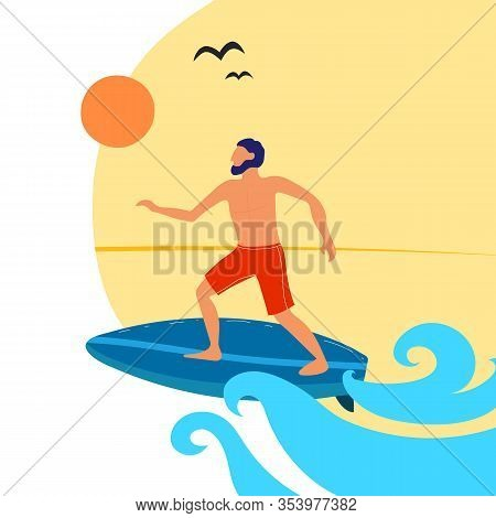Summer Vector Illustration With Cartoon Surfing Boy On The Surf Board, Decor Elements. Colorful Flat