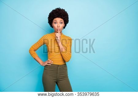 Shh. Photo Of Beautiful Pretty Dark Skin Wavy Lady Holding Finger On Lips Asking To Keep Her Secret
