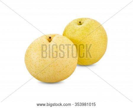 Whole Fresh Century Pear Or Nashi Pear On White Background